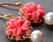50 PERCENT OFF SALE - Fjola in bloom - coral red with pearl earrings