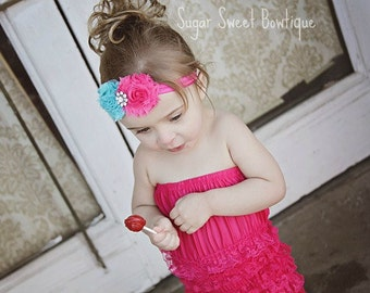 Carnival Hot Pink and Aqua Teal Shabby Chic Couture Flower Headband  - Photography Prop - Newborn Photos