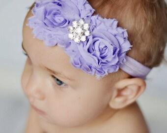 Lavender Purple Shabby Chic Couture Flower Headband  - Photography Prop - Newborn Photos