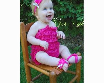 Hot Pink Shabby Flowers Barefoot Sandals and Matching Headband Set - Photography Prop - Newborn Photos
