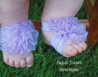 Lavender Petti Puff Barefoot Sandals and Matching Headband Set - Photography Prop - Newborn Photos