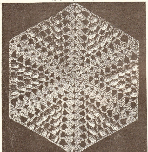vintage crochet pattern for hexagon shape to make into quilts, afgans, throws ,pillows etc pdf email delivery