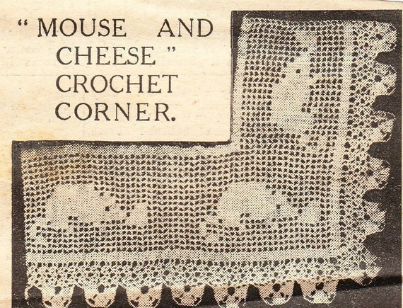 Vintage crochet pattern mouse and cheese edging 1913 pdf