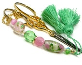 Beaded Scissor Fob Spring Flowers Pink Green Pastel Needlpoint Cross Stitch Sewing Quilting Accessory