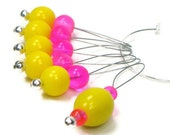 Beaded Knitting Stitch Markers Set, Snag Free, DIY Knitting Tools, Gift for Knitter, Hot Pink, Yellow TJBdesigns