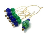 Stitch Markers Knitting Beaded Cobalt and Green Knit Tool Knitting Accessory