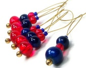 Beaded Knitting Stitch Markers Set, Snag Free, DIY Knitting Tools, Gift for Knitter, Blue, Red, TJBdesigns
