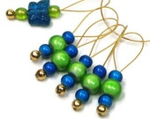 Blue Butterfly Beaded Stitch Markers Knitting