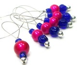 Bright Pink and Cobalt Blue Knitting Stitch Markers Beaded