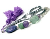 Beaded Scissor Fob Lilac and Green Sewing Cross Stitch Needlepoint Accessory