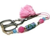 Pastel Pink and Blue Beaded Scissor Fob Minder Keeper