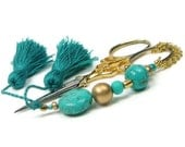 RESERVED Beaded Scissor Fob, Cross Stitch, Needlepoint, Quilting, Sewing, DIY Crafts, Gift, Turquoise, TJBdesigns