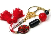 RESERVED Red Black Wheel Scissor Fob Beaded  for Quilting Needlepoint Sewing Cross Stitch Hardanger