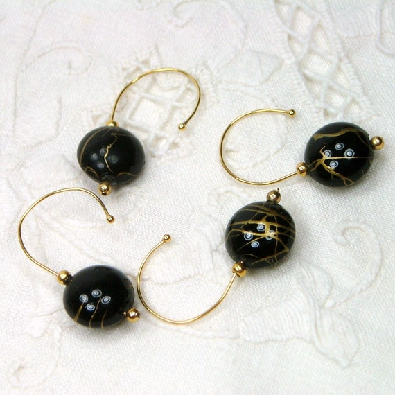 Crochet Stitch Markers Removable Beaded  Black