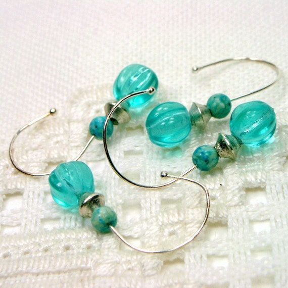 Removable Beaded  Aqua and SilverCrochet Stitch Markers