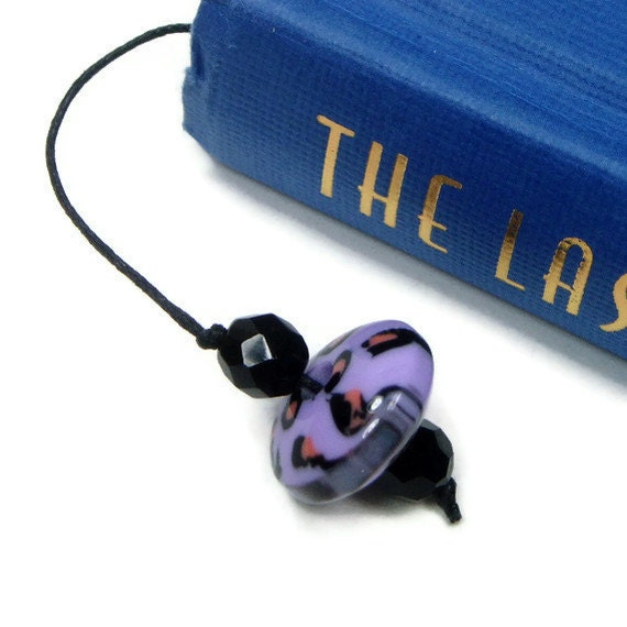 Lavender Leopard Book Thong Bookmark
