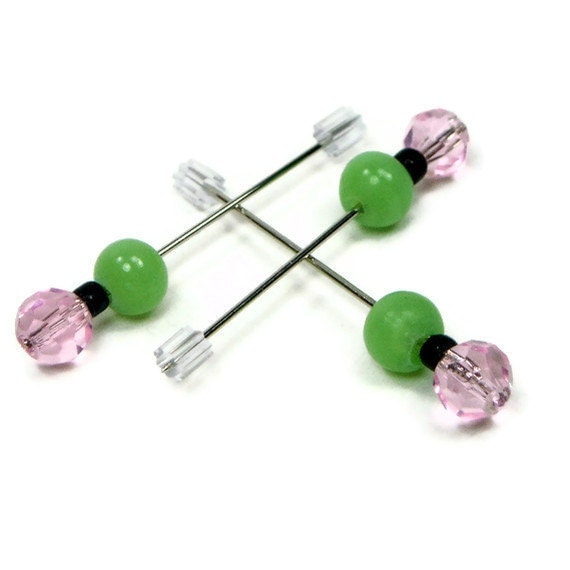Counting  Pins Marking Pins Needlepoint Cross Stitch Hardanger Pink Green