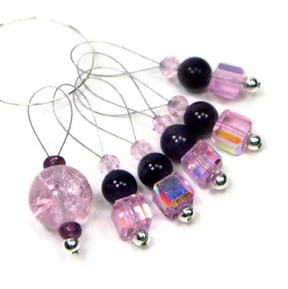 Knitting Stitch Markers Beaded Icy Pink and Purple