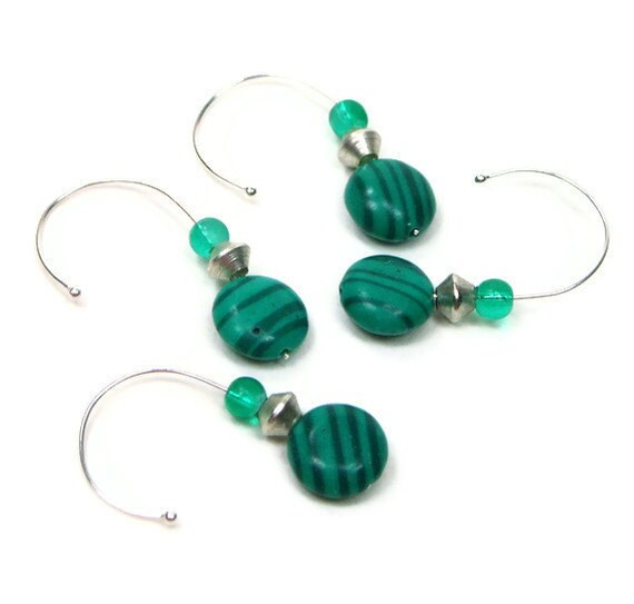 Crochet Stitch Markers Removable Beaded Green Stripe