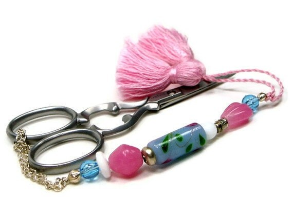 Pastel Pink and Blue Beaded Scissor Fob Minder Keeper