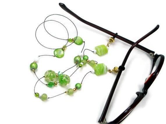 Beaded Glasses Necklace, Reading Glasses Holder, Granny Glasses Chain, Glasses Leash, Lanyard, Lime Green, TJBdesigns