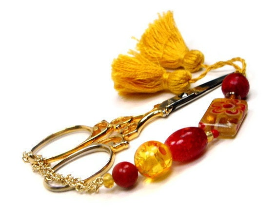 Fiery Red and Golden Beaded Scissor Fob
