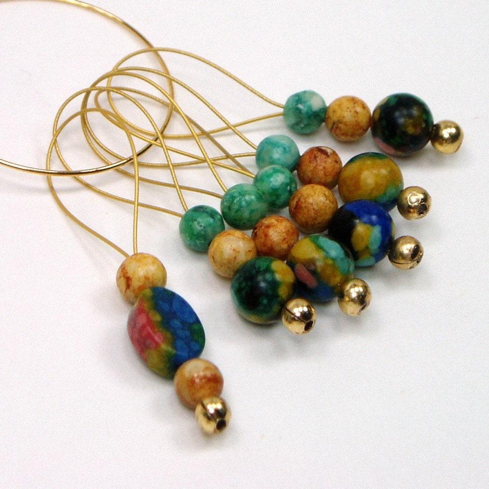 Knitting Markers Beads : Beaded stitch markers rainbow stone