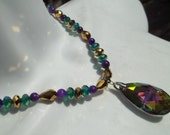 BRICO Mardi Gras Faceted Glass Pendant Necklace - Free S&H