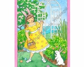 Easter Card - Little Girl and Bunny