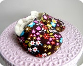 CUSTOM LISTING for CHRISTINE - Baby Shoes - Elvira Toffee Flowers - Soft Soled Crib Shoes