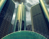 Detroit Ren Cen Building, Fine Art Photograph on Metallic Paper
