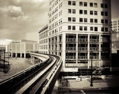 People Mover Train in Detroit- Fine Art Urban Photograph