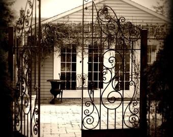 Scroll Gate Sepia 8x8 Fine Art Photograph on Metallic Paper