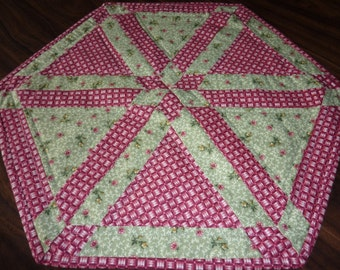 Floral and Basket Weave Table Topper