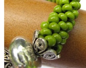 Spring Green Bead Crochet Bangle