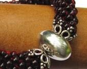 Ruby Red Bead Crochet Bangle
