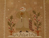 Finished Cross Stitch Noel Snowman Snowgirl