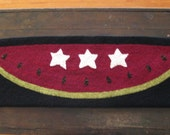 Primitive Folk Art Hooked Rug Runner Watermelon Slice