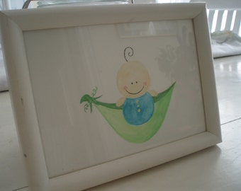 Framed picture/sweet pea in a pod/blue