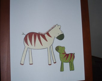 Framed picture/zebra and baby