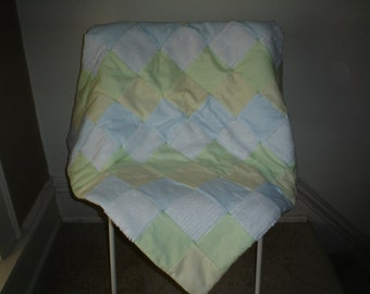 Flannel and chenille quilt/stripes