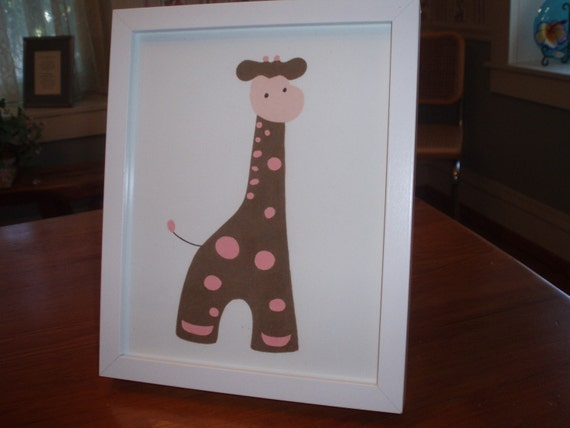 Framed picture/brown and pink giraffe