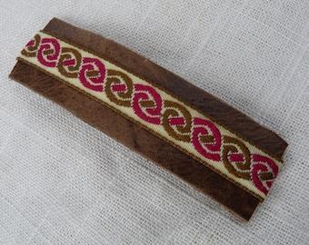 Burgundy Celtic Leather Barrette