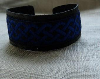 Blue Celtic Knot Leather Bracelet