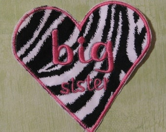 Zebra print big sister heart applique
