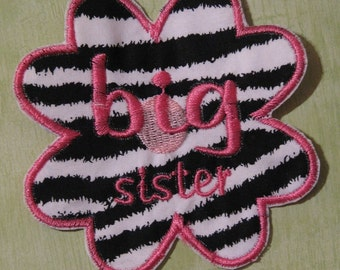 Applique Zebra and hot pink big sister  flower