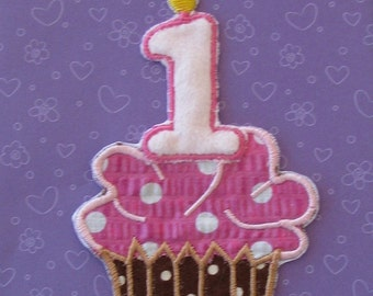 First Birthday brown and pink poka dot applique