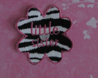 Applique Zebra and hot pink little sister flower