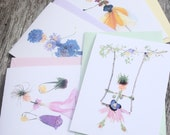 Set of 6 Blank Greeting Cards with Original Flower Girl Art