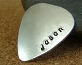 Guitar Pick - Hand Stamped Guitar Pick - Custom Guitar Pick - Aluminum Guitar Pick or Sterling Silver Guitar Pick